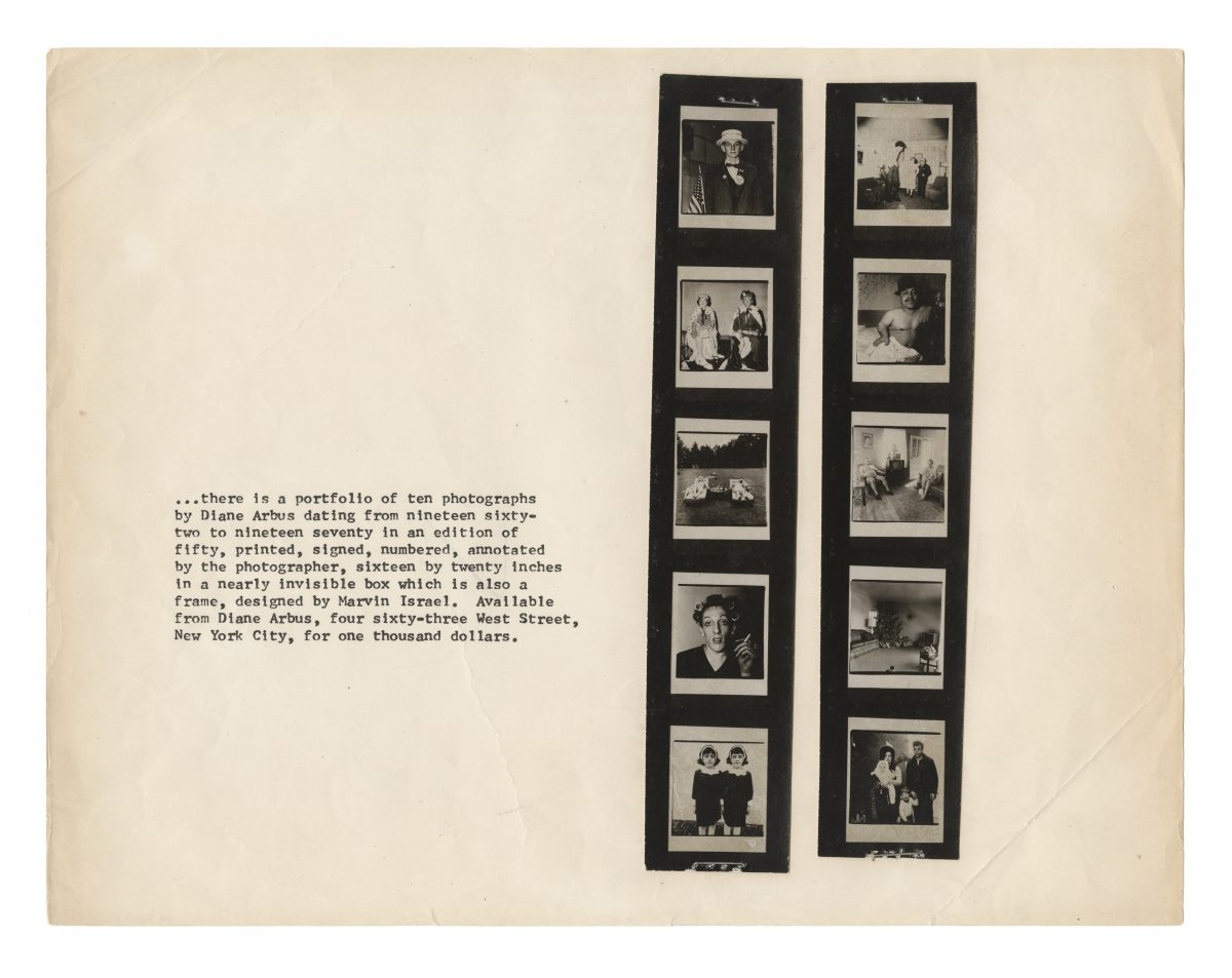 Diane Arbus, Promotional flyer for A box of ten photographs, 1970-1971