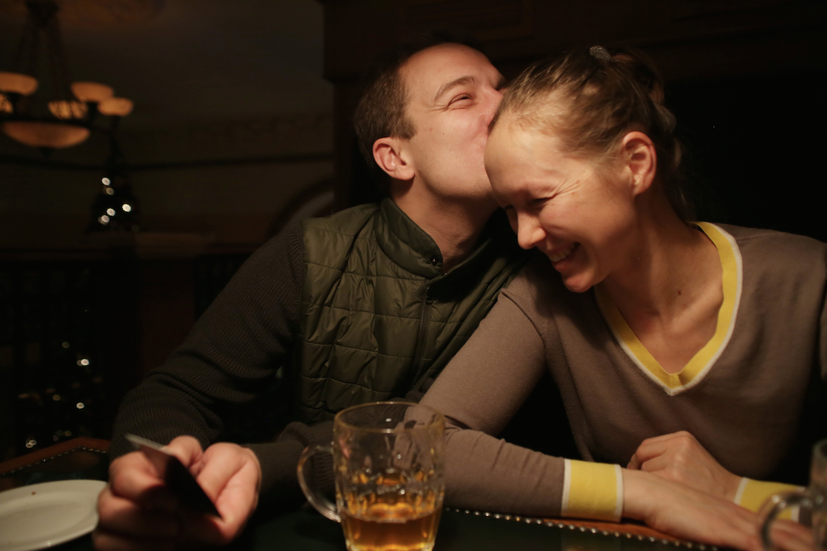 Dmitry and Maria at the Glavpivtorg bar in central Moscow
