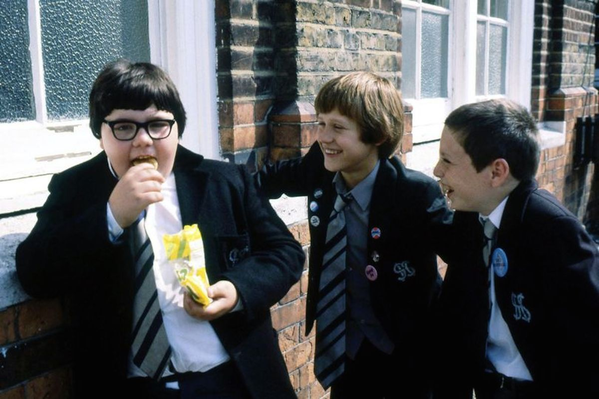 Erkan Mustafa as Roland Browning, Lee Sparke as Jonah Jones and Lee MacDonald as Samuel Zammo Maguire in series five of Grange Hill
