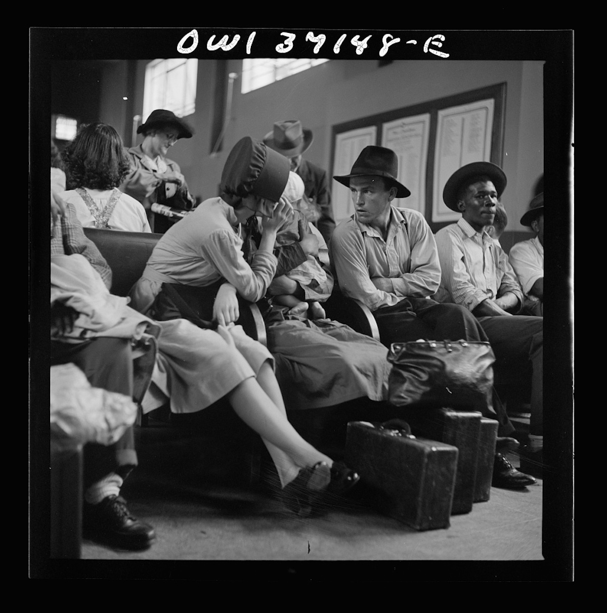Pittsburgh, Pennsylvania. Passengers in the waiting room of the Greyhound bus station