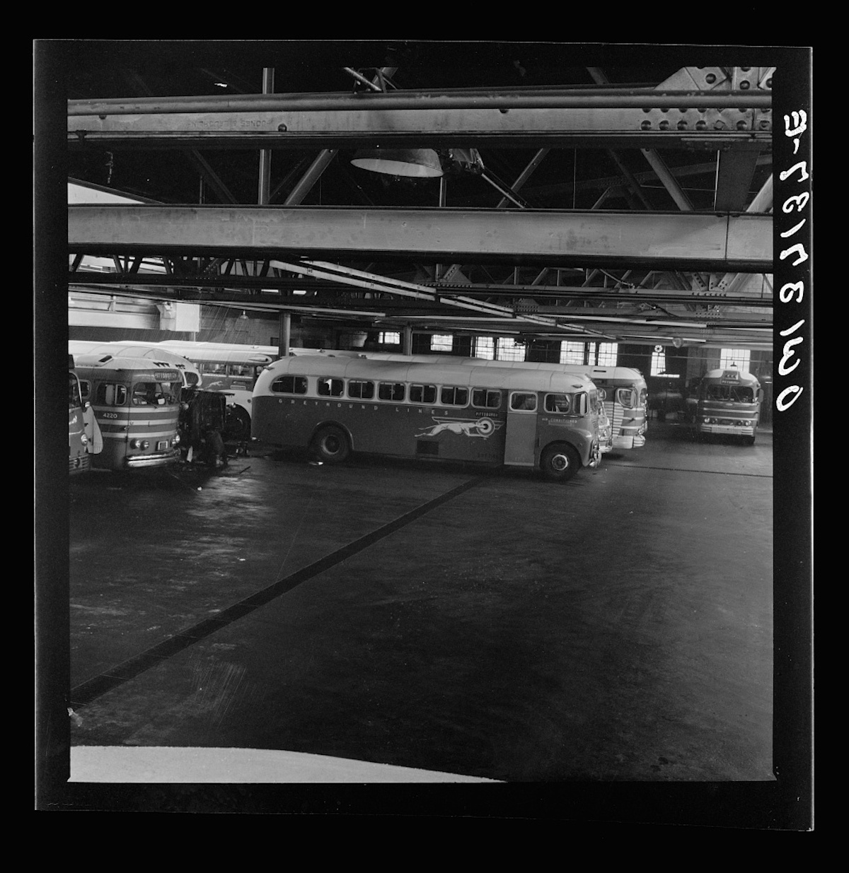 Pittsburgh, Pennsylvania. The Greyhound bus garage