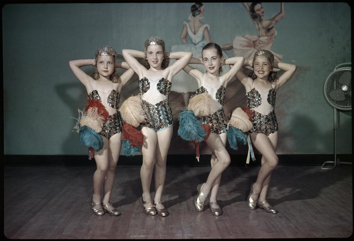 Photograph of four young girls from the ballet school posing in Byrd Williams III's studio. DATE: 1947 CREATOR: Williams, Byrd M. (Byrd Moore), III