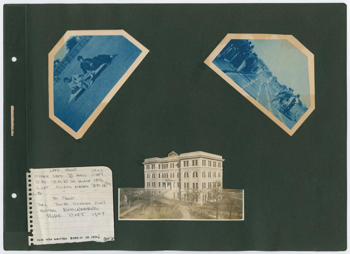 Scrapbook page featuring 3 photos including 2 cyanotypes of a track and field event at UT, and a black and white photo of the Engineering building at UT. DATE: 1904/1906 CREATOR: Williams, Byrd M. (Byrd Moore), Jr.