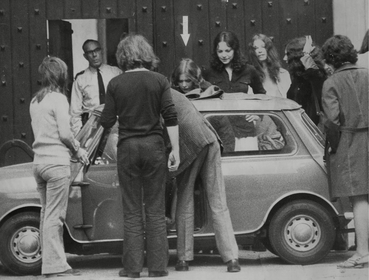 Hilary Creek (arrowed) Followed By Anna Mendelson Two Of The Four Women Defendants In The Angry Brigade Trial Are Met By Friends As They Leave Holloway Jail On Bail Today. August 7 1972