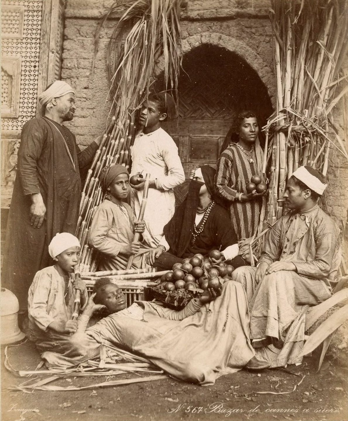 Vendors in a bazaar.