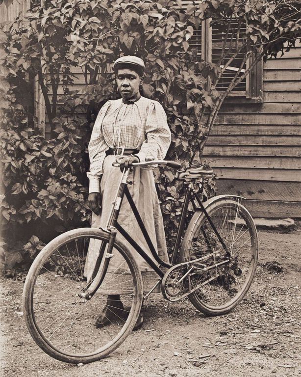 1900 Portrait of Rose Perkins Posing with Her Bicycle.