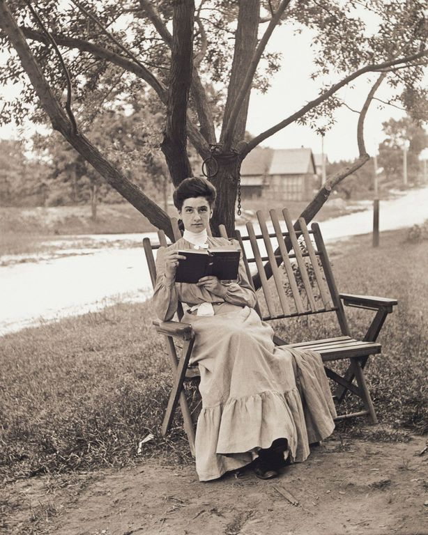 1904 Portrait of Grace Stevens Reading a Book.