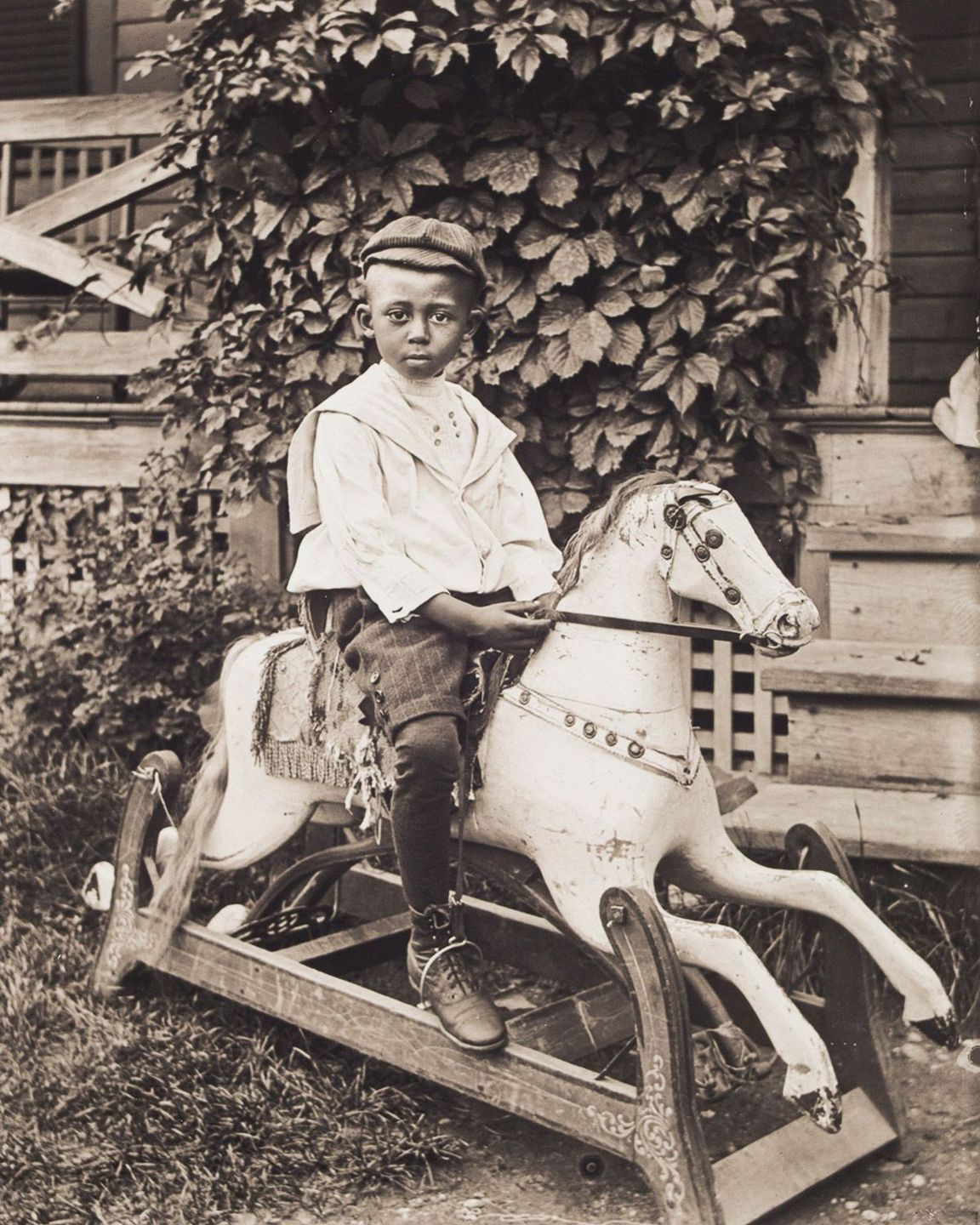 c. 1902 Portrait of Claude Clark on a Rocking Horse.