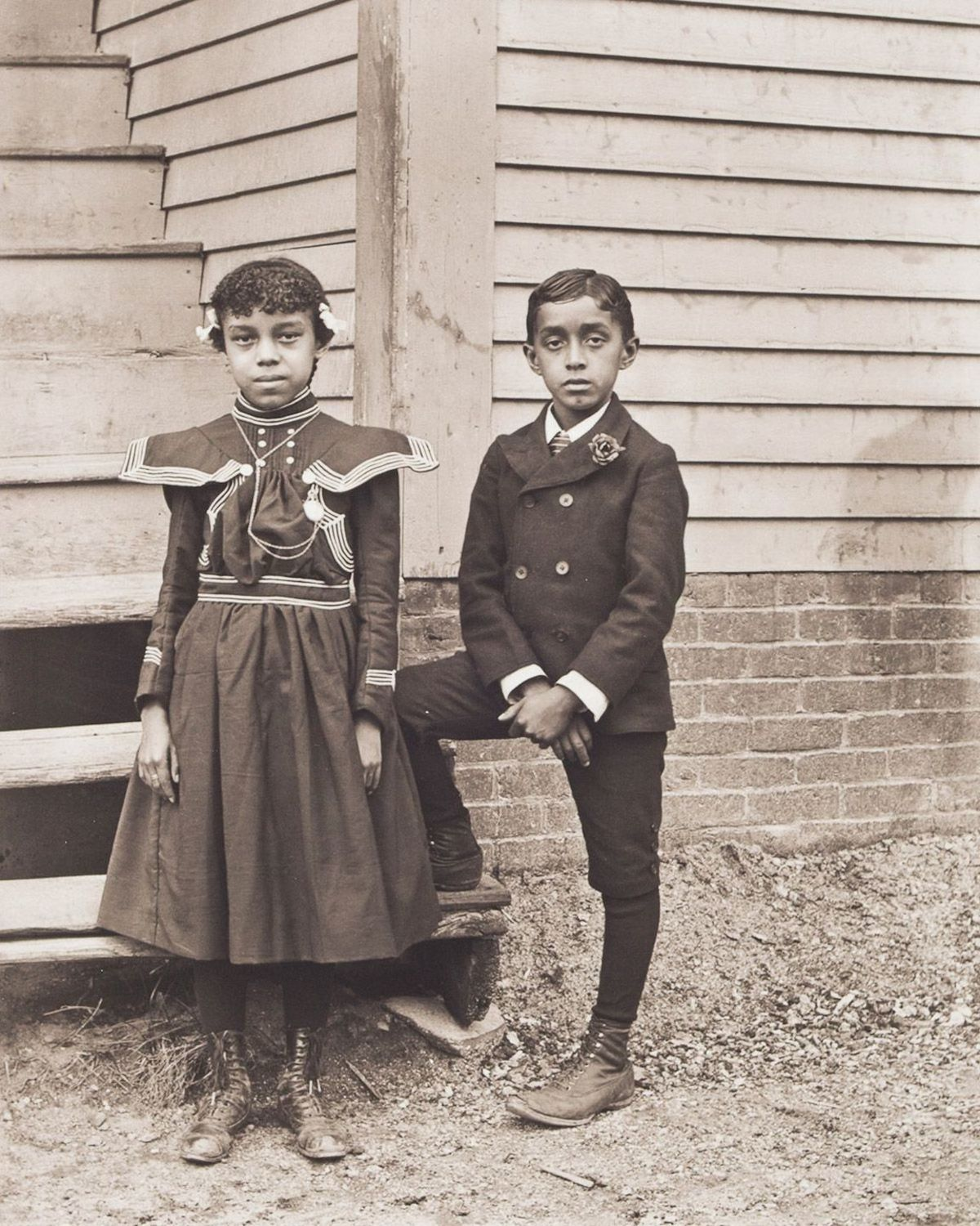 c. 1901 Portrait of Susie Idella Morris and Harry Clinton Morris. Susie and Harry Morris were the children of barber Sandy Morris, a migrant from New Orleans, and Susie Arkless Morris, of Narragansett descent. They were the great-great-grandchildren of Sampson Hazard, a Revolutionary War veteran.