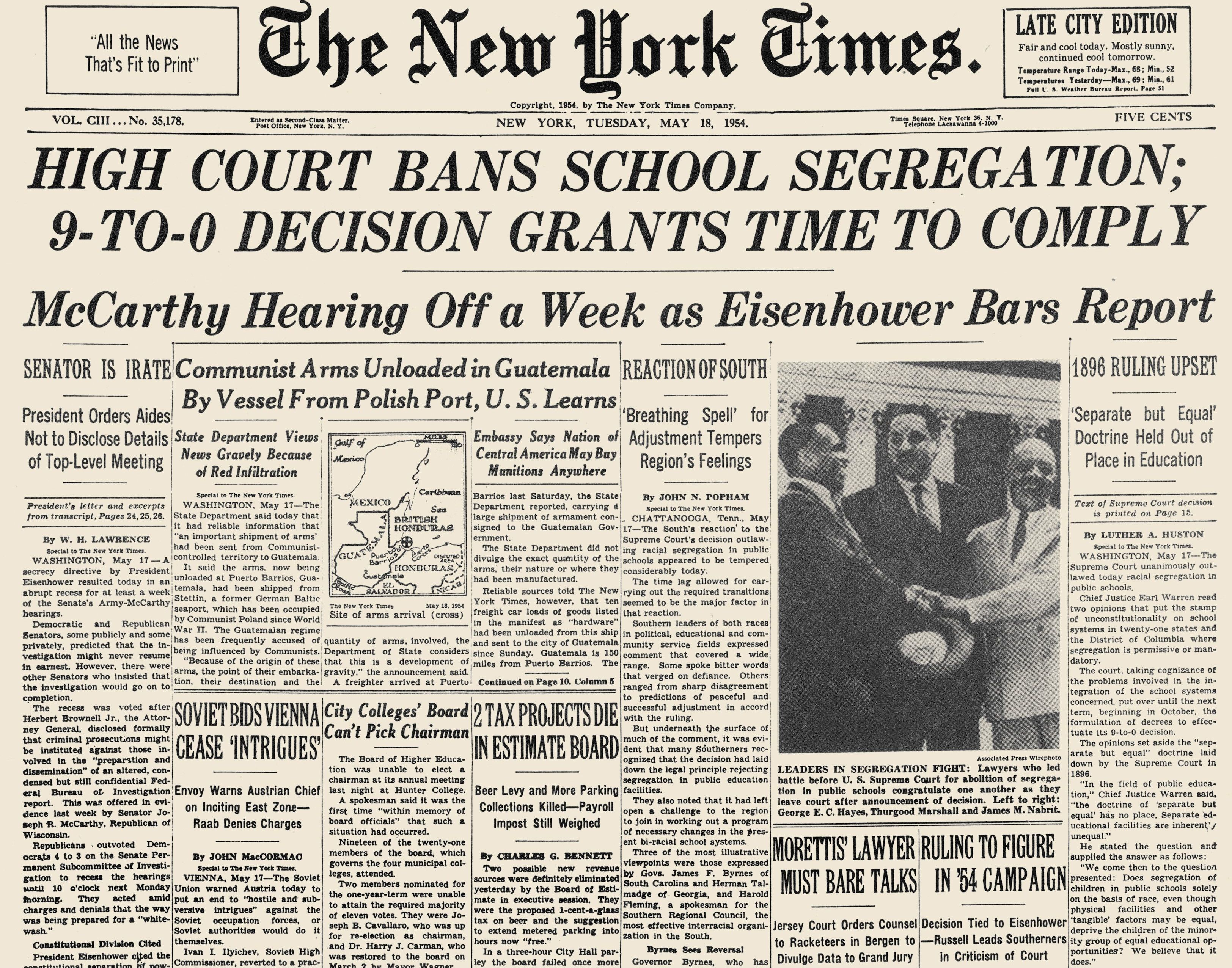 Career Aspirations Essay Front Page Of The New York Times  May  Announcing The Supreme Court Education For All Essay also Nyu Mba Essays Linda Brown Brown V Board Of Education Hero Dies  Flashbak Study Skills Essay