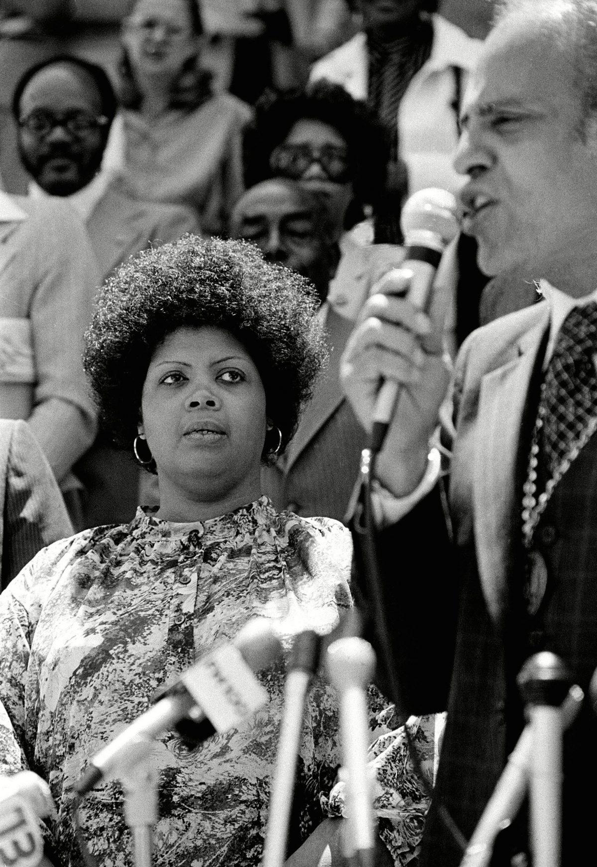 Linda Brown, left, of Topeka, Kansas, listens to Benjamin L. Hooks, executive director of the NAACP, during ceremonies observing the 25th anniversary of the U.S. Supreme Court's desegregation ruling in the Brown v. Board of Education of Topeka in Columbus, S.C., May 1979. It was Brown's father who initiated the class-action suit in the Brown v. Board of Education of Topeka, Kans., which led to the U.S. Supreme Court's 1954 landmark decision against school segregation BROWN V BOE 25TH ANNIVERSARY, COLUMBUS, USA