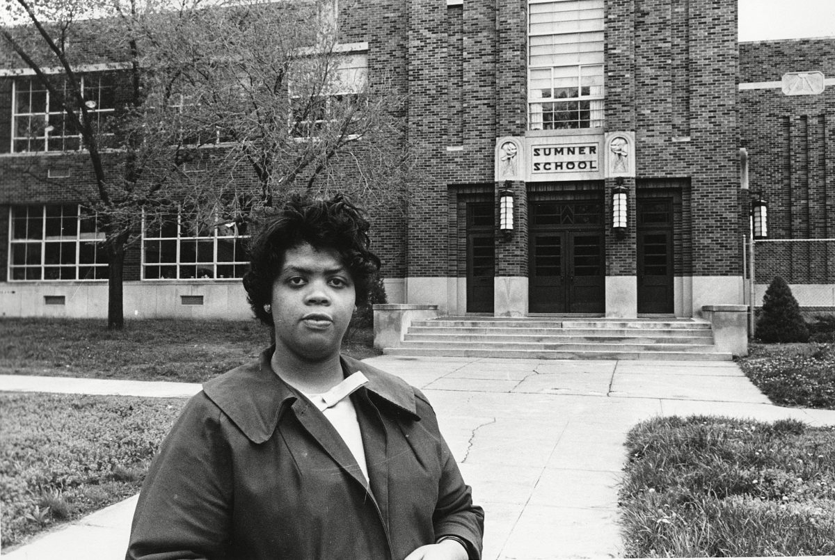 "Linda Brown standing in front of the Sumner School in Topeka, Kansas. The refusal of the public school to admit Brown in 1951, then nine years old, because she is black, led to the Brown v. Board of Education of Topeka, Kansas. In 1954, the U.S. Supreme Court overruled the ""separate but equal"" clause and mandated that schools nationwide must be desegregated. Saturday marks the 60th anniversary of the landmark Brown v. Board of Education decision. Many inequities in education still exist for black students and for Hispanics, a population that has grown exponentially since the 1954 ruling School Segregation 5 Things, Topeka, USA"