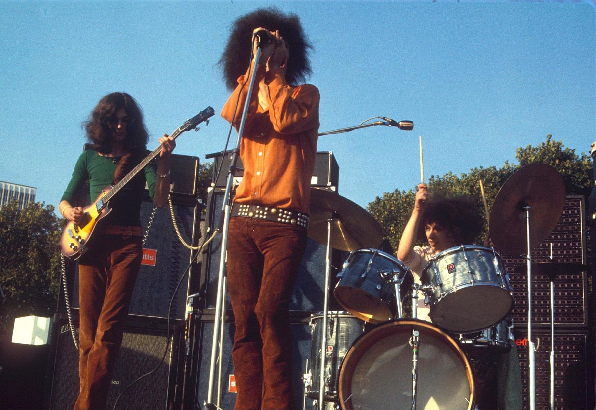 The Deviants - Duncan Sanderson, Mick Farren and Russell Hunter in concert in Hyde Park 1969