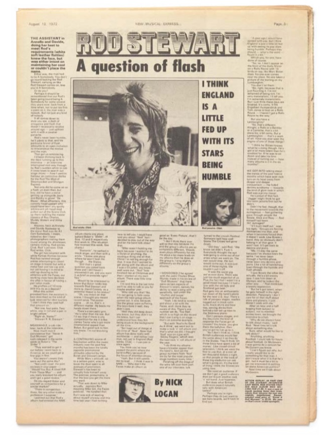 Interview with Rod Stewart by Nick Logan, New Musical Express, August 12, 1972