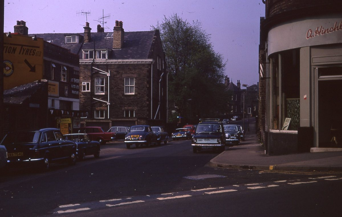 View down Ashgate Road from Glossop Road, The Broomhill Study, Sheffield, May 1970.