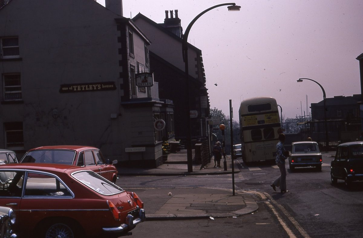 View down Glossop Road from the Broomhill Tavern, The Broomhill Study, Sheffield, May 1970.