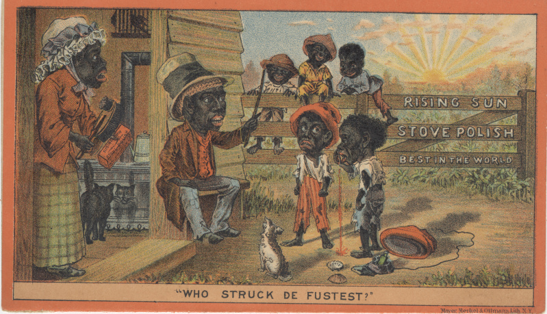 victorian trade cards Rising Sun Stove Polish racist