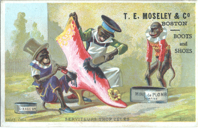 victorian trade cards tobacco TE Mosely Boston boots and shoes