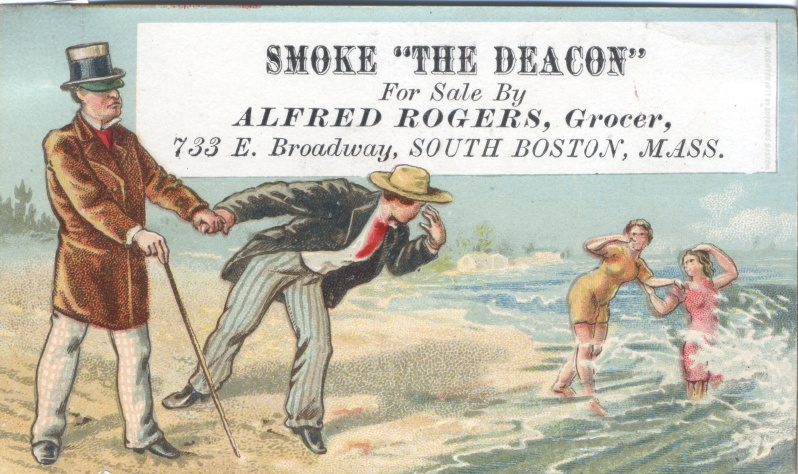 victorian trade cards tobacco Alfre Rogers Grocer Boston