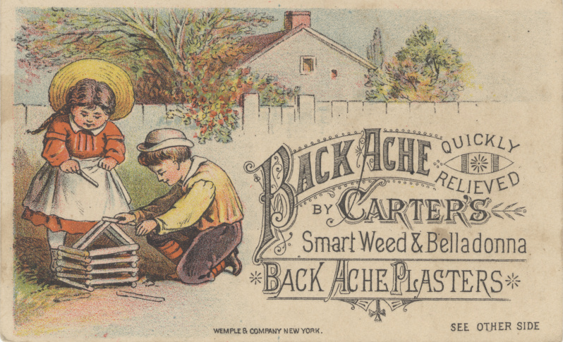 Victorian trade cards Back Ache Carters Belladonna plasters