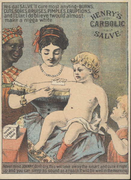 victorian trade cards Henry's Carbolic salve racist