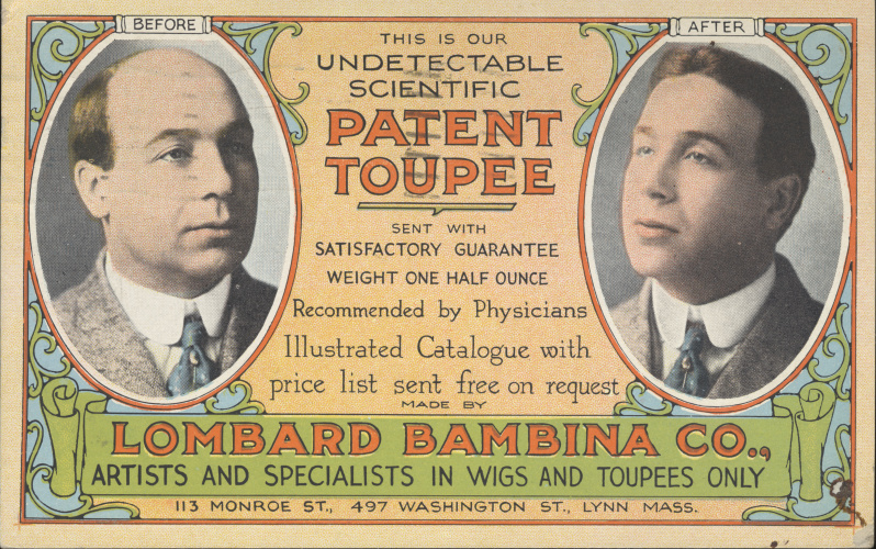 victorian trade cards Lombard Bambina Co wigs and toupees