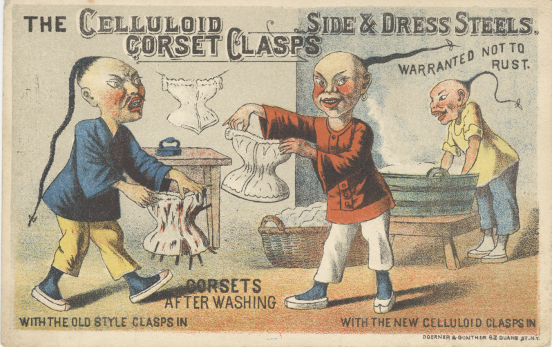victorian trade cards Cellulois Corset Clasps racist
