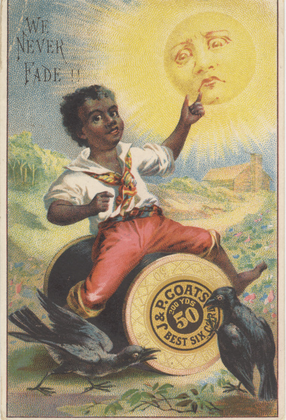 victorian trade cards J & P Coates racist
