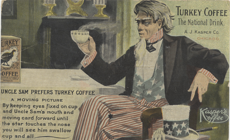 victorian trade cards Uncle Sam Turkey Coffee