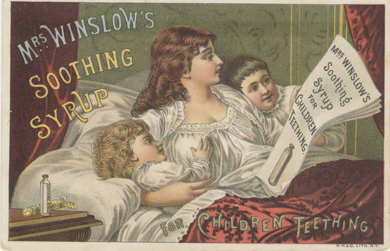 Victorian trade cards Mrs Winslow syrup teething