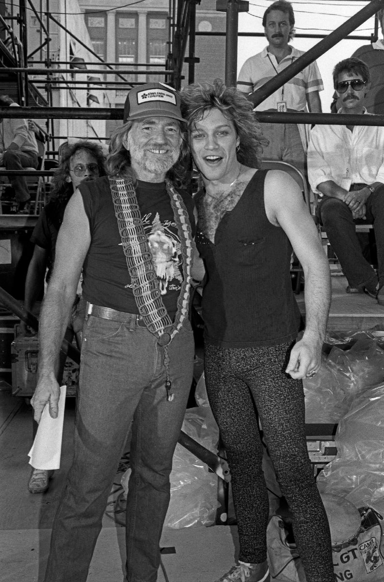 Jon Bon Jovi with Willie Nelson, Farm Aid, September 22, 1985