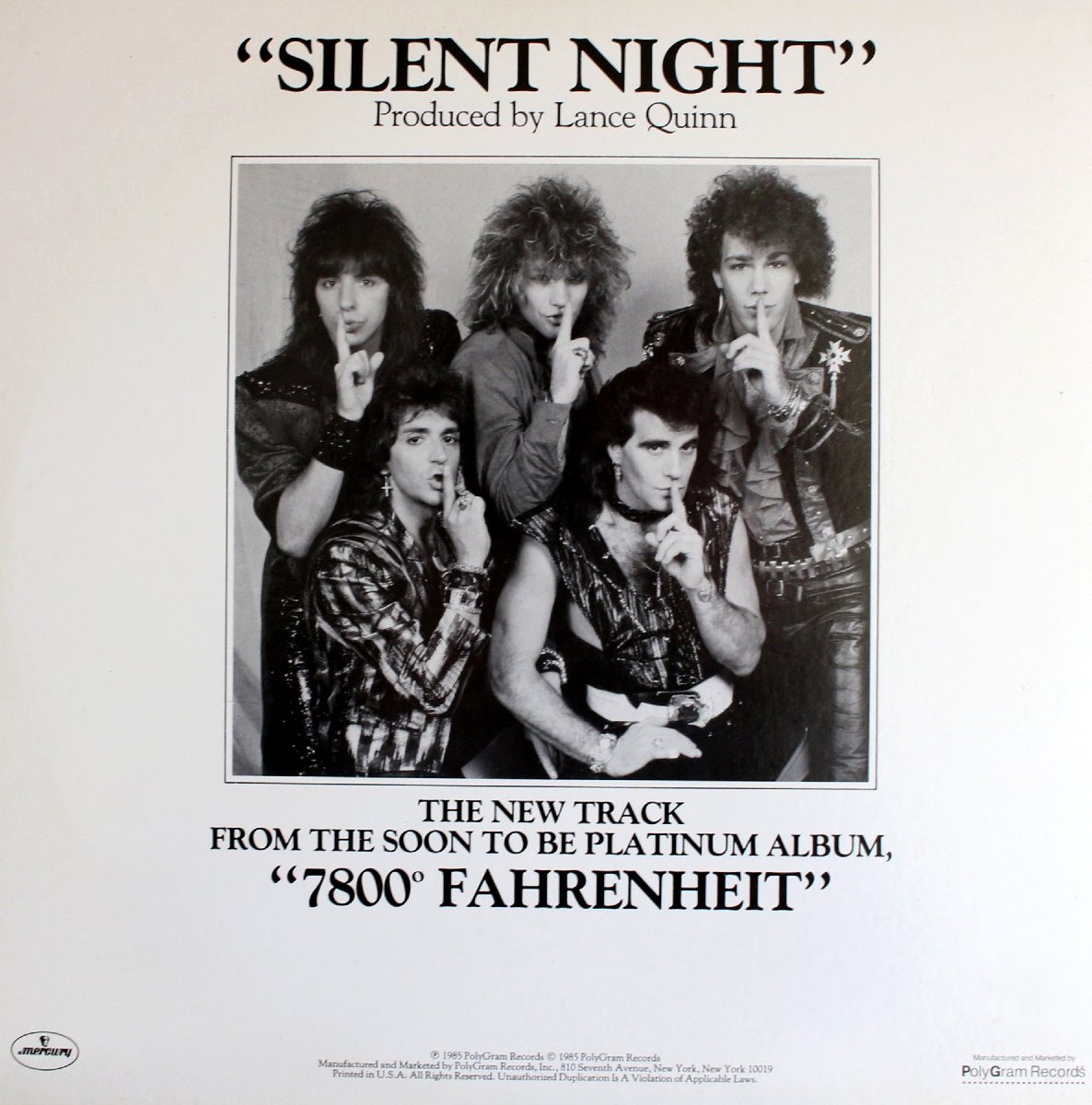"Bon Jovi's ""Silent Night"" single, 1985"