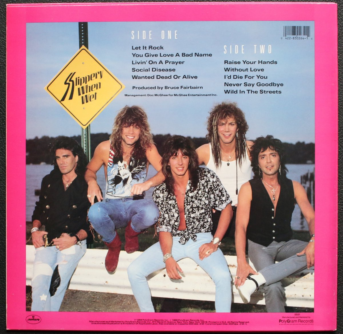 Bon Jovi's Slippery When Wet album, 1986 (first cover)