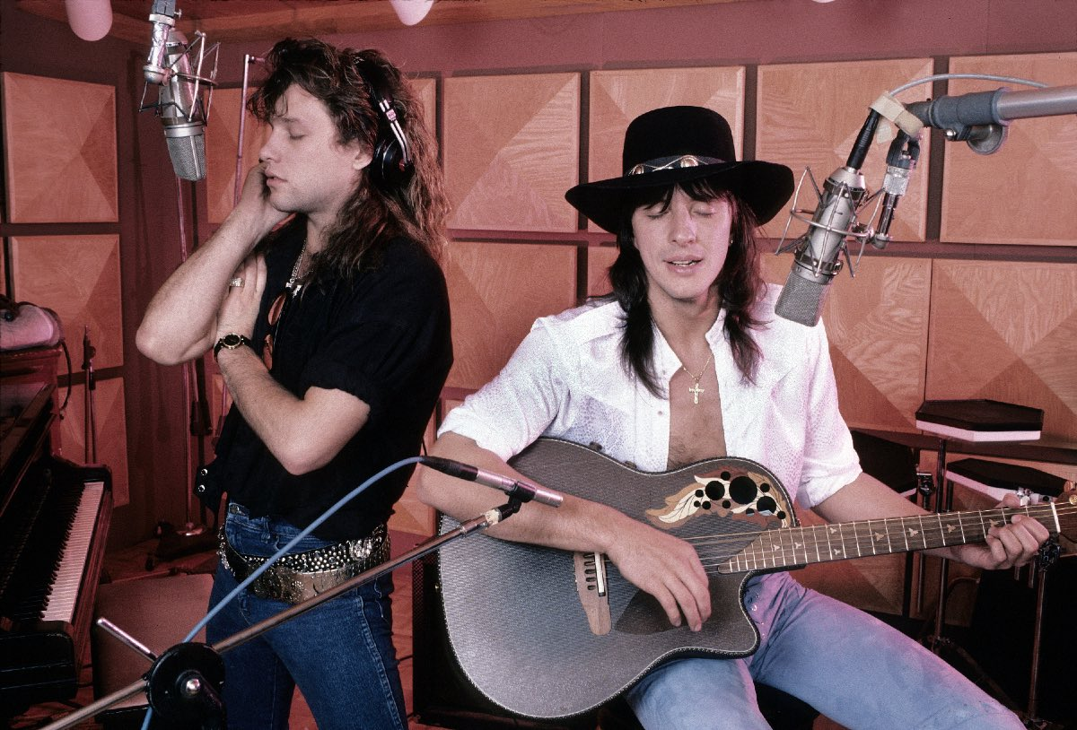 Jon and Richie in Jon's recording studio, Rumson, New Jersey, March 1987