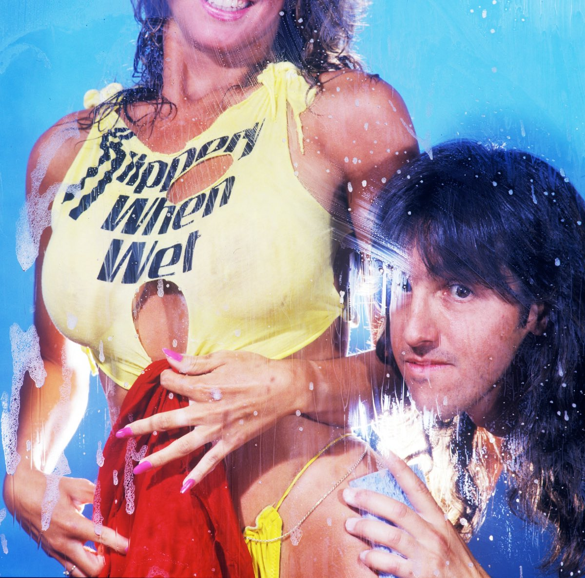 Angela and Mark Weiss, Slippery When Wet album cover shoot, 1986