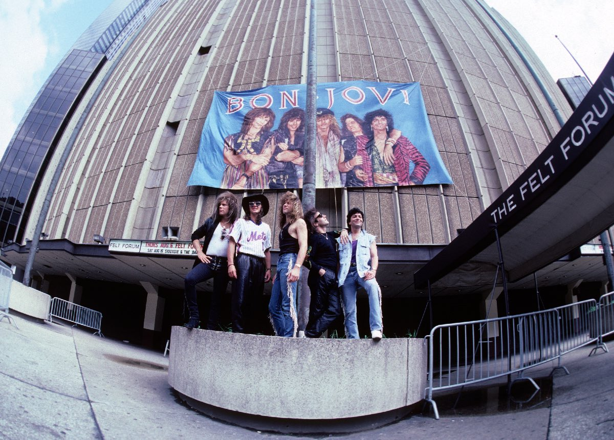 Bon Jovi in front of Madison Square Garden, New York City, August 1987