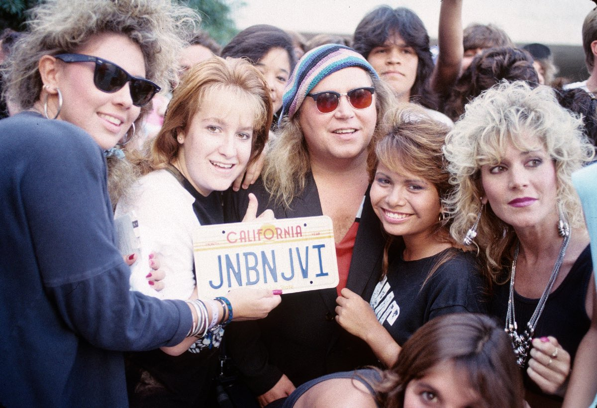 "Sam Kinison and Bon Jovi fans, ""Bad Medicine"" video shoot, September 1988"