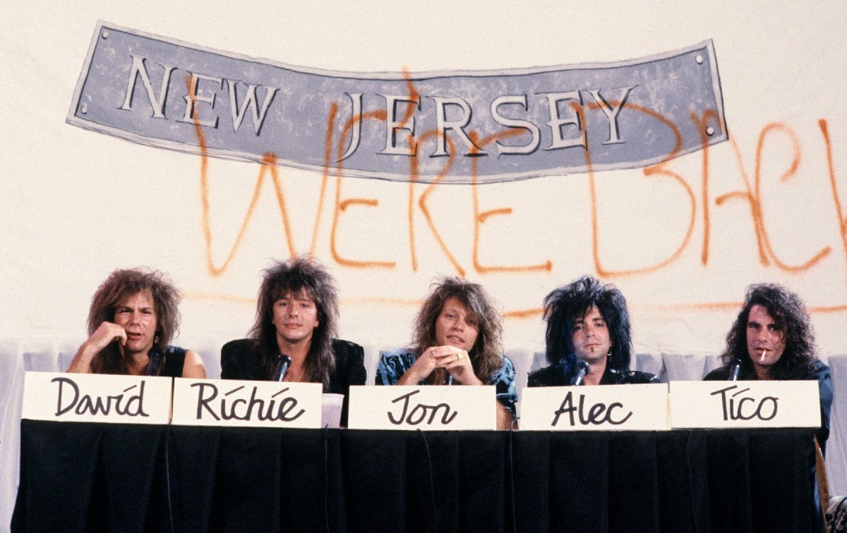 Bon Jovi at the press conference for the album, New Jersey in New York City, on August 19, 1988.