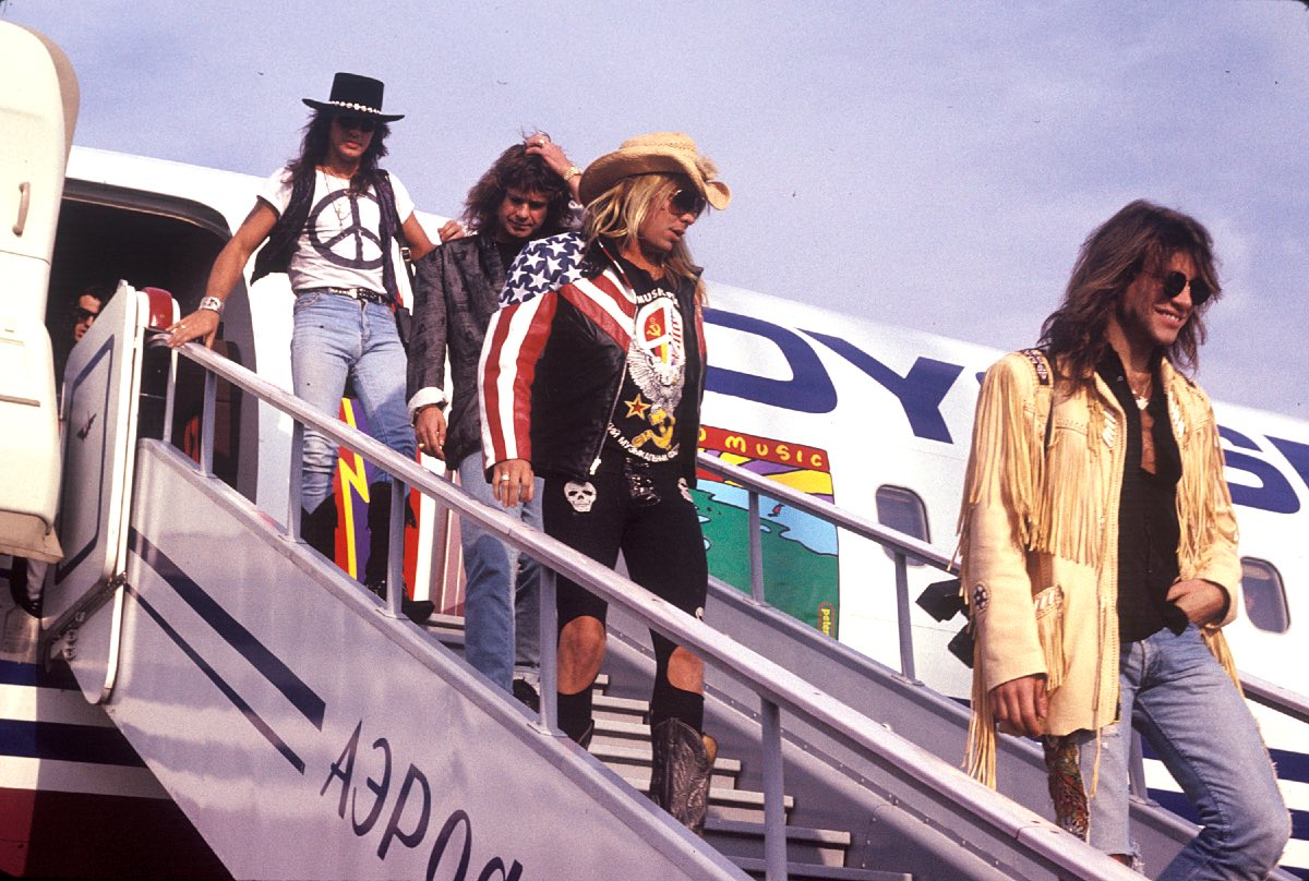 Arriving in Russia for the Moscow Music Peace Festival L-R (Richie Sambora of Bon Jovi, Ozzy Osbourne, Vince Neil of Motley Crue, Jon Bon Jovi of Bon Jovi) August 1989