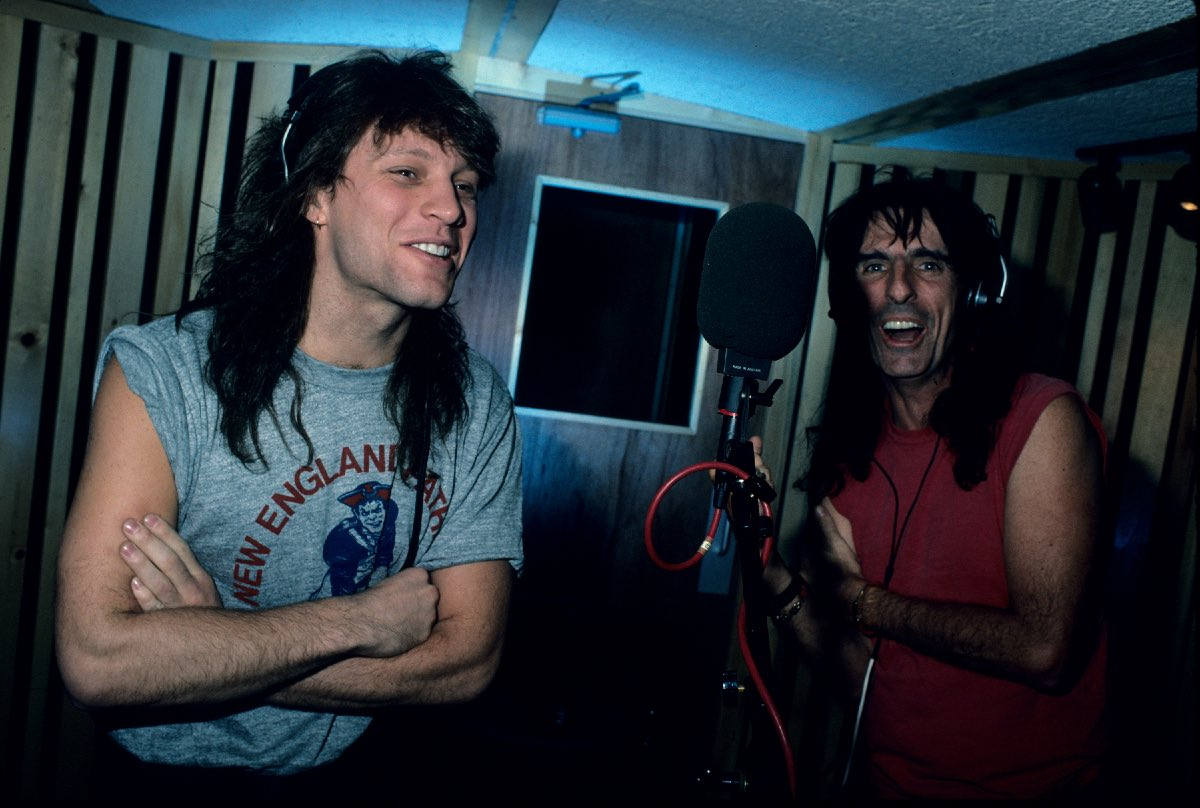 Jon Bon Jovi and Alice Cooper at Jon's recording studio, Rumson, NJ, March 1988