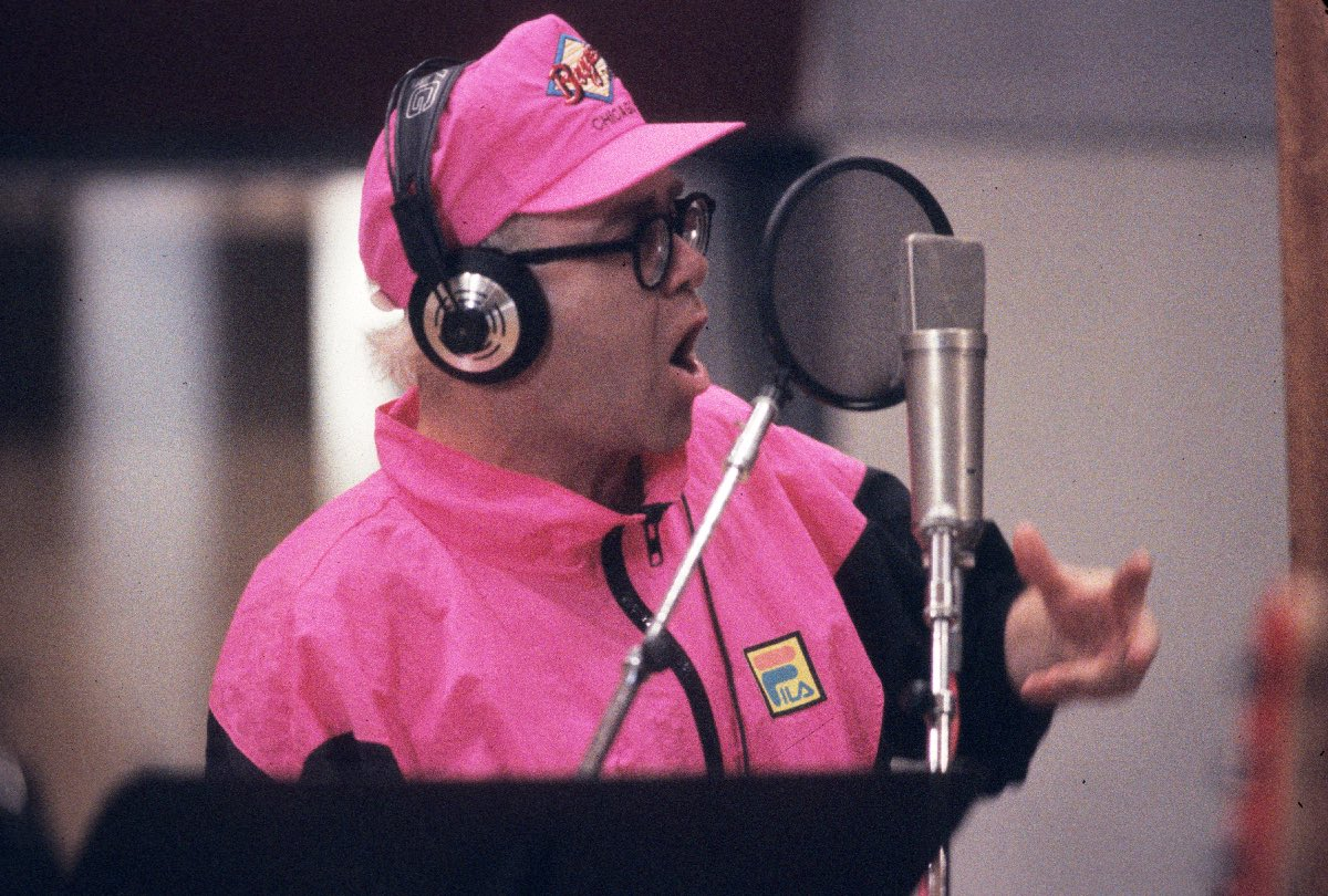 Elton John recording the album Blaze of Glory, Los Angeles, CA, May 1990