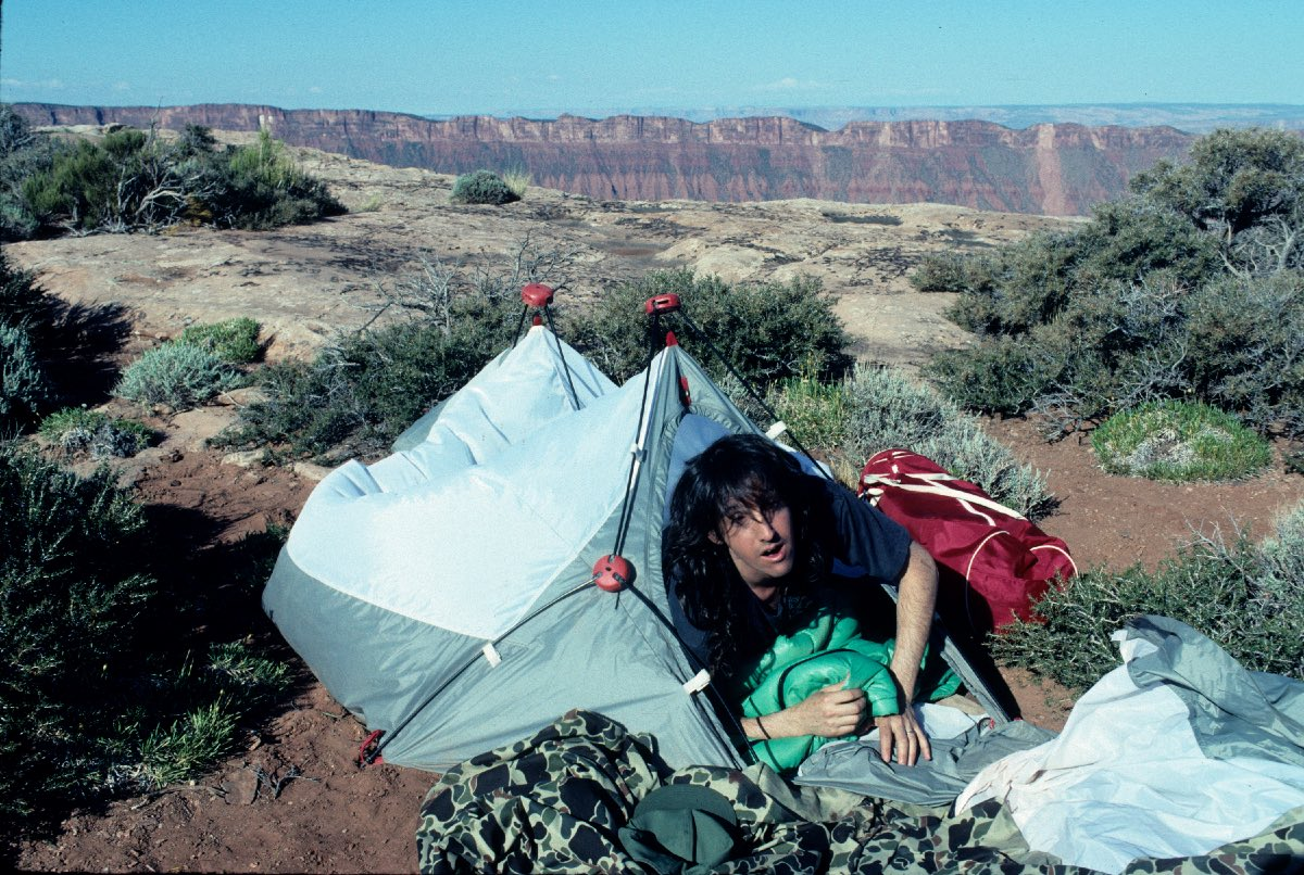 "Mark Weiss on location for the ""Blaze of Glory"" the video shoot in Utah, June 1990"