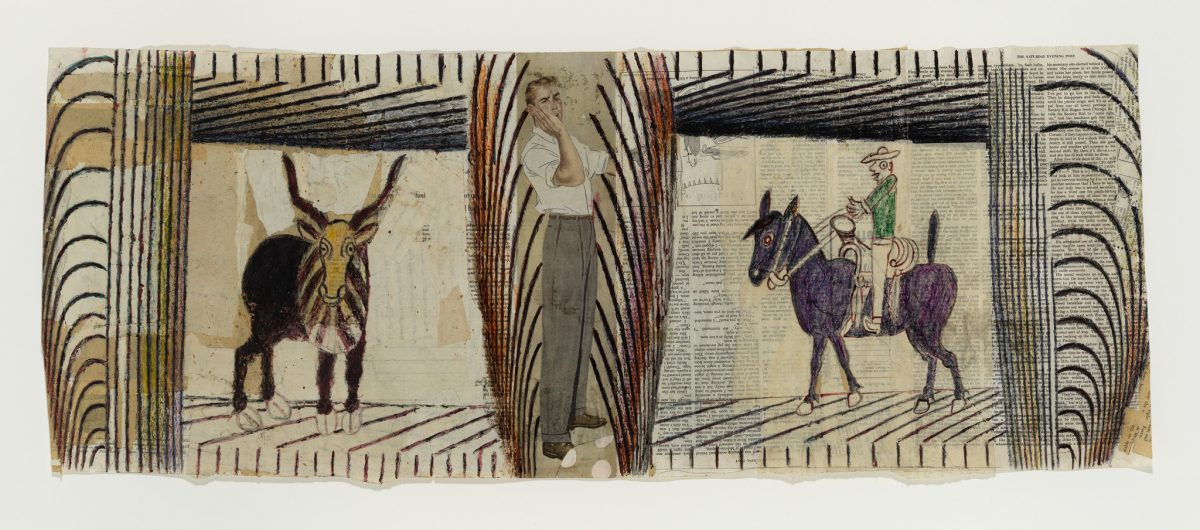 An undated collage-drawing by Martin Ramirez features a male figure sandwiched between a bull