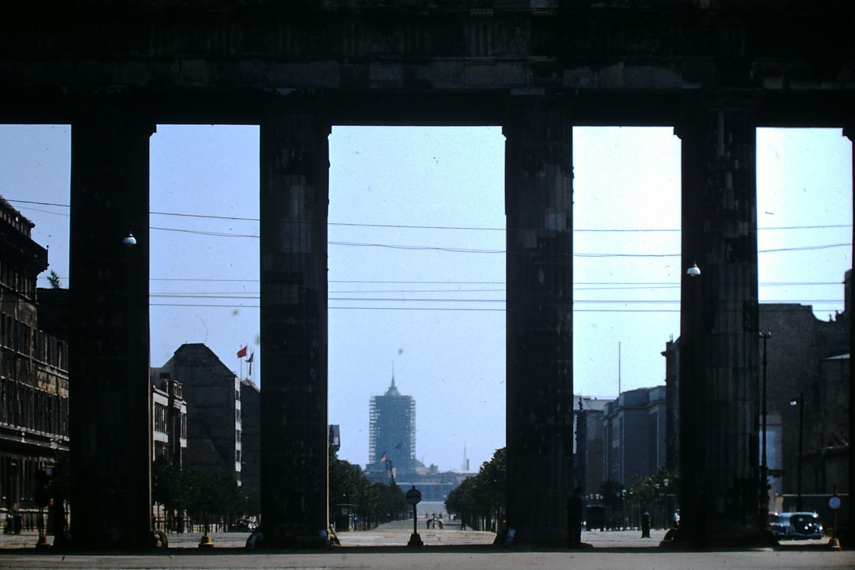 West Germany In Kodachrome 7-2-1953- East Berlin- Unter Den Linden Begins at Gate- Former Rathaus at end