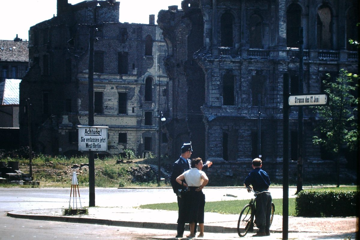 West Germany In Kodachrome7-2-1953- At East Berlin Gate- New Name for Axelstrasse- 17 June