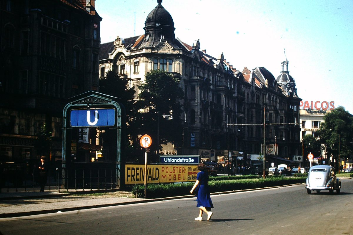 West Germany In Kodachrome7-2-1953- Kurfurstendam- Subway Entrance- Berlin- Germany