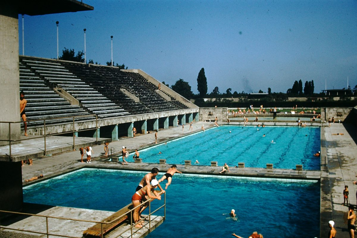 West Germany In Kodachrome7-2-1953- Pool- Olympic Stadium- Berlin- Germany
