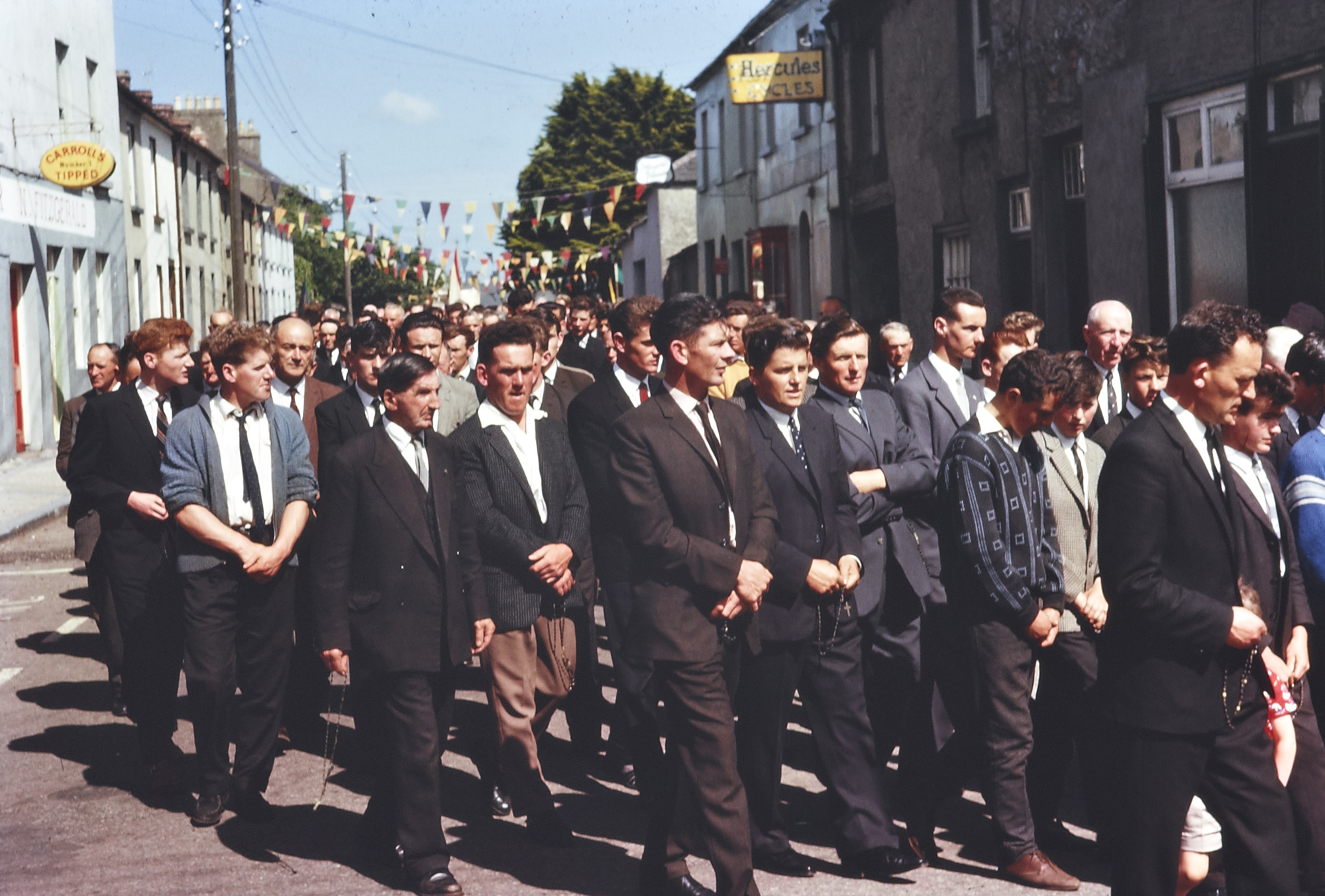 Ireland 1960s, Group of men, Corpus Christi procession, Cahir, Co. Tipperary - 1963
