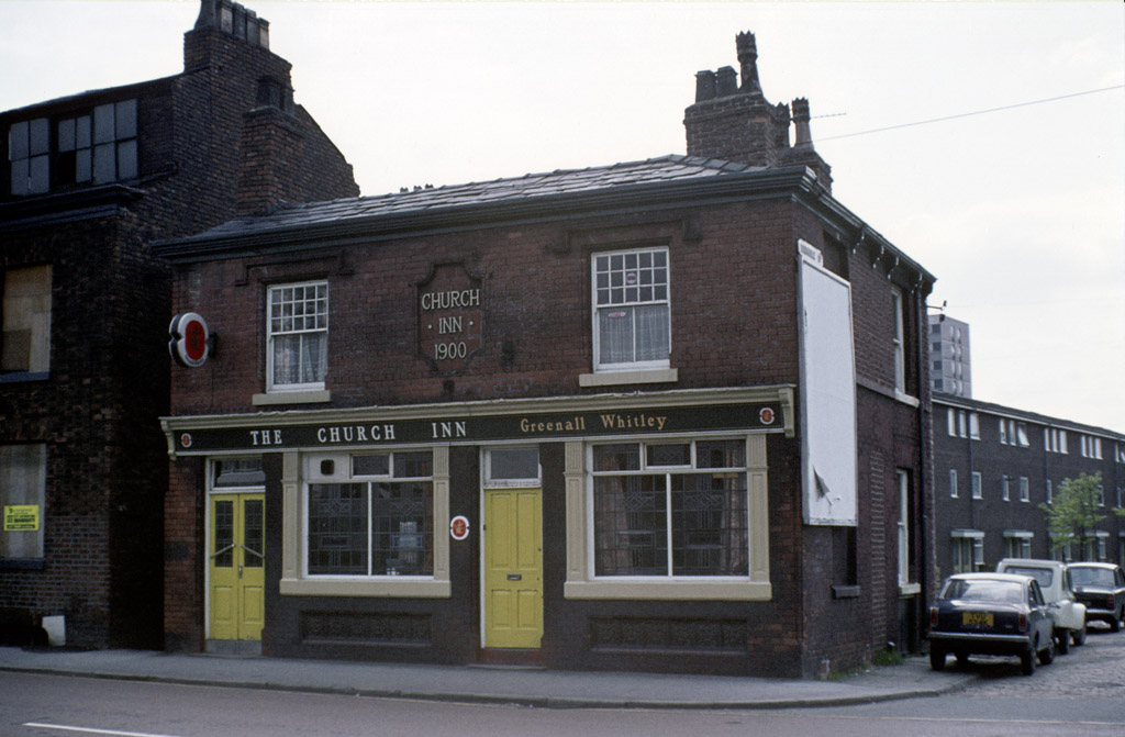 Manchester pubs, The Church Inn on Cambridge Street, All Saints, around 1972.