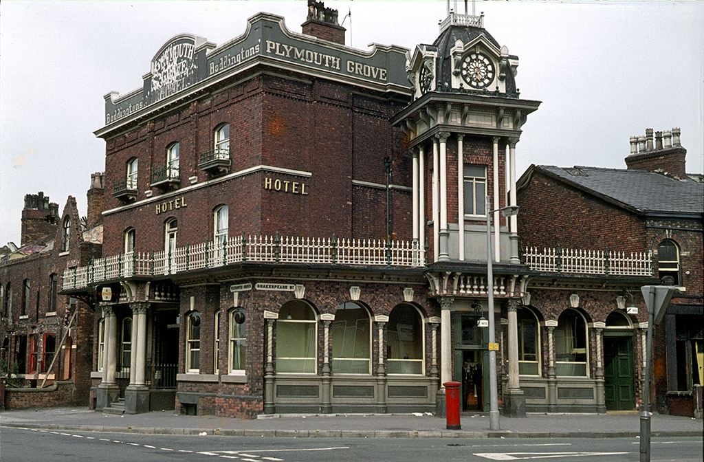 The Plymouth Grove Hotel at the junction of Plymouth Grove and Shakespeare Street, around 1969. Manchester pubs